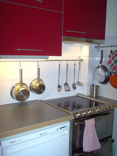 Paris apartment has a full completely equipped kitchen, washing machine/dryer, dishwaster, oven and microwave