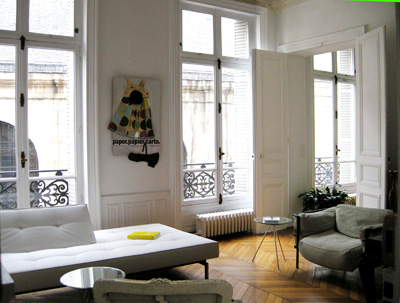 Paris apartment has been stylishly decorated and has a top quality sleeper sofa and large windows that face St. Roch Church