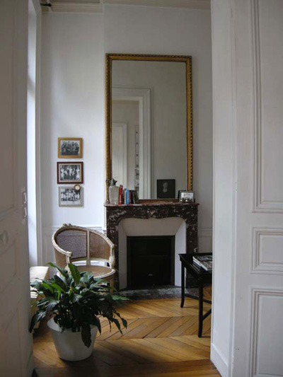 Paris apartment has high ceilings, beautiful oak wood floors and beautiful furnishings.